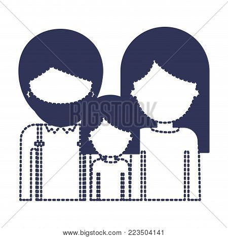 half body faceless people with man with beard and girl and woman with long straight hair in dark blue silhouette and dotted contour vector illustration