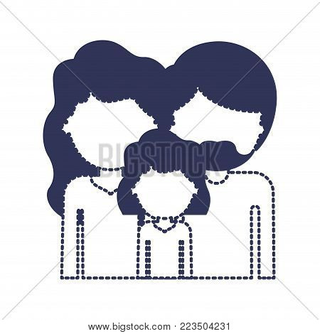 half body faceless people with woman and girl with wavy hair and man with beard in dark blue silhouette and dotted contour vector illustration