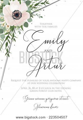 Wedding floral watercolor style invite, invitation, save the date card design with pink, white anemones poppies, forest green eucalyptus branches & leaves greenery decoration. Vector elegant template.