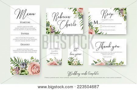 Wedding floral invite thank you, rsvp label cards Design: lavender pink violet garden rose, green tropical palm leaf greenery eucalyptus branches decoration. Vector elegant watercolor rustic template set