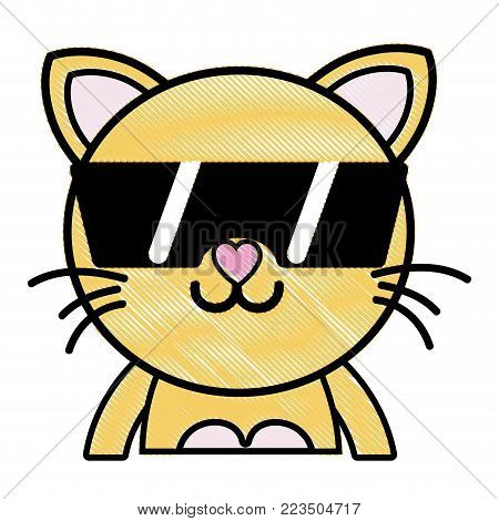 grated happy cat adorable feline animal with sunglasses vector illustration