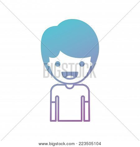 half body people with boy in t-shirt and short hair in degraded blue to purple color silhouette vector illustration