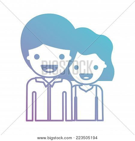half body people with boy in shirt long sleeve and short hair and girl in t-shirt sleeveless and short wavy hair in degraded blue to purple color silhouette vector illustration