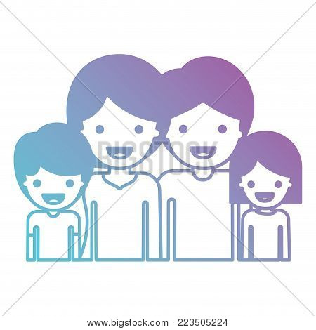 half body people with woman and girl and man and boy with short hair in degraded blue to purple color silhouette vector illustration