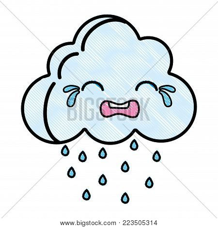 grated crying natural cloud weather kawaii vector illustration