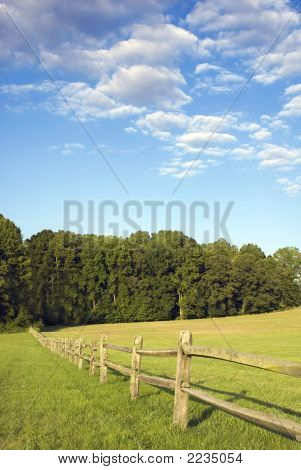 Field Fence And Blue Sky
