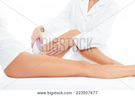 Depilation. Beauty.  Spa. Woman on laser hair removal treatments thighs and bikini area