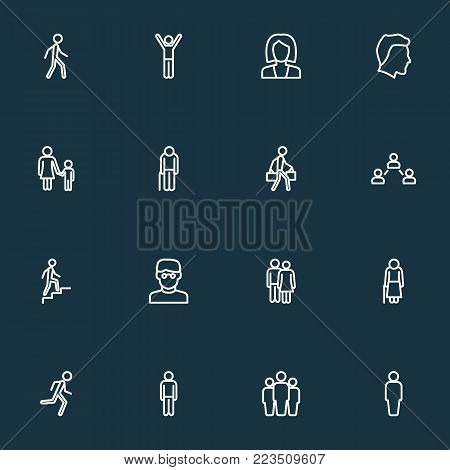 Person icons line style set with woman, social relations, couple and other male elements. Isolated vector illustration person icons.