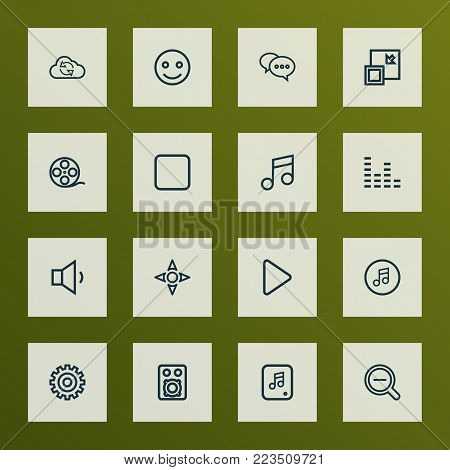 Music icons line style set with decrease, speaker, begin and other gear elements. Isolated vector illustration music icons.