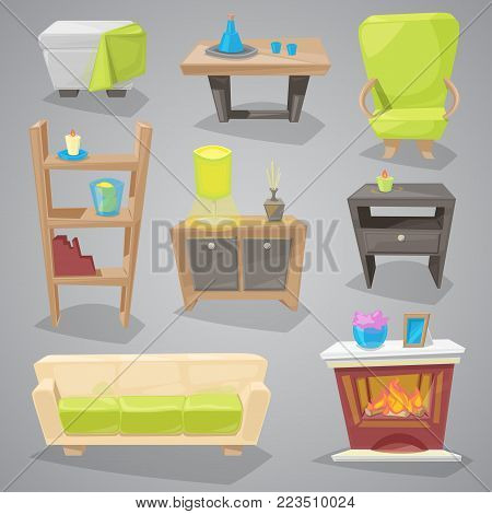 Furniture vector furnishings design of sofa in furnished interior or armchair and chair for decoration in apartment or to furnish room set illustration isolated on background.