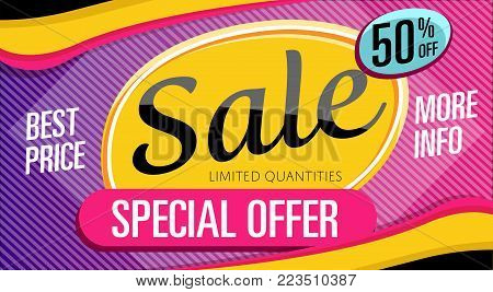 Special offer banner in trendy style. Best price proposition, up to 50 off message. Retail marketing information, new advertising campaign, holiday shopping, commerce promo vector illustration.