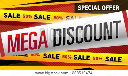 Mega discount banner in trendy style. Special offer proposition, up to 50 off message. Retail marketing information, new advertising campaign, holiday shopping, commerce promo vector illustration.