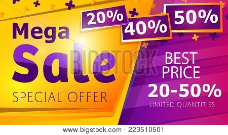 Mega sale banner in trendy style. Retail marketing information, new advertising campaign, holiday shopping, commerce promo poster. Best price up to 50 off, special offer info vector illustration.