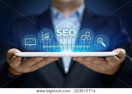 SEO Search Engine Optimization Marketing Ranking Traffic Website Internet Business Technology Concept.
