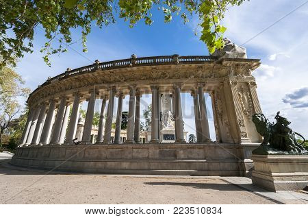 MADRID - APRIL 19, 2015: Detail of Monument to King Alfonso XII, located in Retiro Park, Madrid, Spain, on April 19, 2015. The monument was designed by Jose Grases Riera, and inaugurated on June 6, 1922