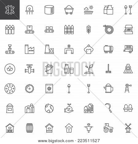 Industry and farming line icons set, outline vector symbol collection, linear style pictogram pack. Signs, logo illustration. Set includes icons as windmill, tractor, hive, barn, factory, agriculture
