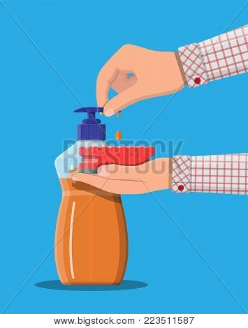 Bottle with dispenser and sponge in hands. Washing sponge. Kitchenware scouring pads. Kitchen and bath cleaning tool accestories. Vector illustration in flat style