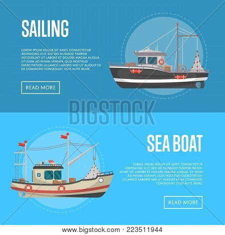 Fishing business flyers with small sea boats. Commercial marine shipping, ocean nautical transportation, traditional fishing concept. Trawlers for industrial seafood production vector illustration.