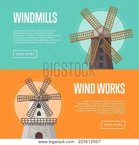 Natural farming flyers with old windmills. Organic agricultural farming and flour production, ecological food manufacturing, clean wind energy. Medieval european travel attraction vector illustration.
