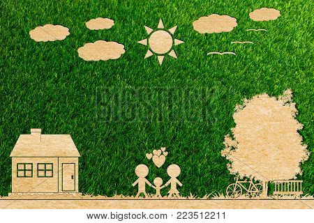 Ecology concept paper cut of family love home sun tree cloud on a green background