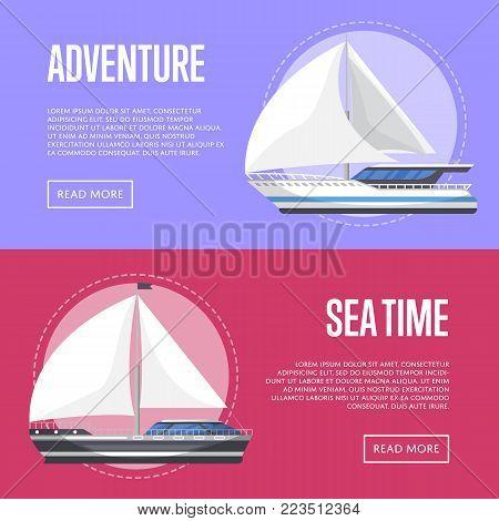 Nautical tourism flyers with sailboats. Marine explore tour advertising, trip on speedy cruise ship, world regatta, nautical sport competition. Sea voyage on luxury sail yacht vector illustration.