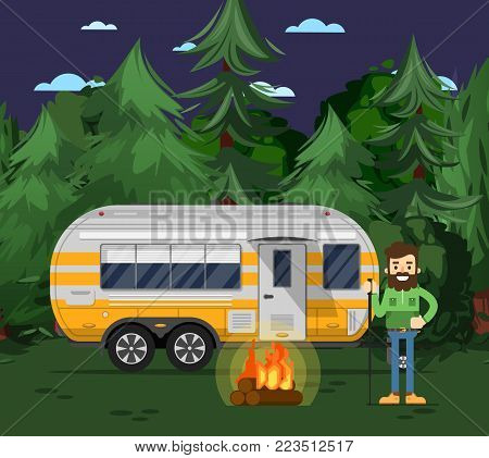 Tourist camp poster with man, bonfire and travel trailer in deep forest. Car RV trailer caravan, compact motorhome, mobile home for country traveling and outdoor family vacation vector illustration.