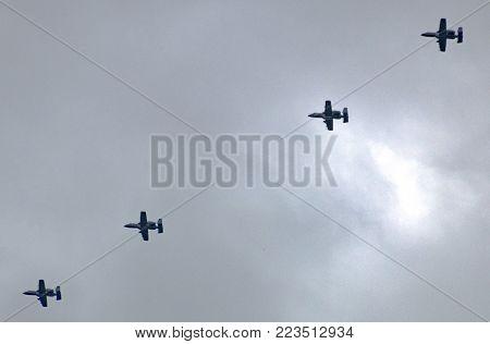 Colorado Springs, CO/USA - Circa September 2016: Four Fairchild Republic A10 Thunderbold II planes flying over Colorado Springs, Colorado.