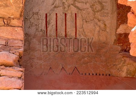 Manitou Springs, CO/USA - Circa September 2016: Anasazi symbols on the wall at the Manitou Cliff Dwellings in Manitou Springs, Colorado.