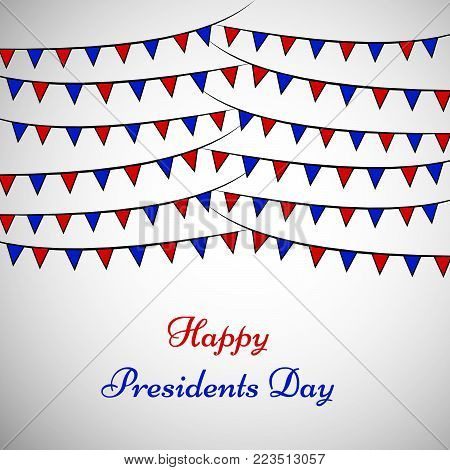 illustration of decoration with Happy Presidents Day text on the occasion of Presidents Day