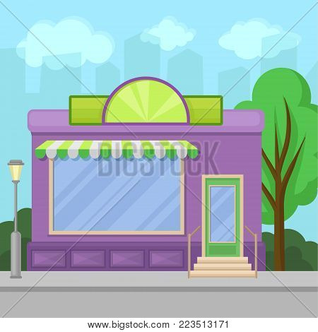 Facade of shop building with showcase window, city summer landscape vector illustration in cartoon style