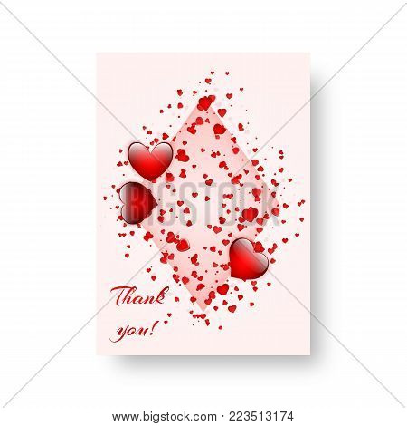 Valentine's Day love beautiful background with scarlet falling hearts. Vector illustration