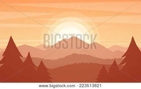 Vector illustration: Mountains landscape with sunset,  pines and hills.