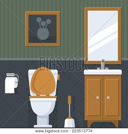 Bathroom Interior. Toilet in flat style. Vector illustration