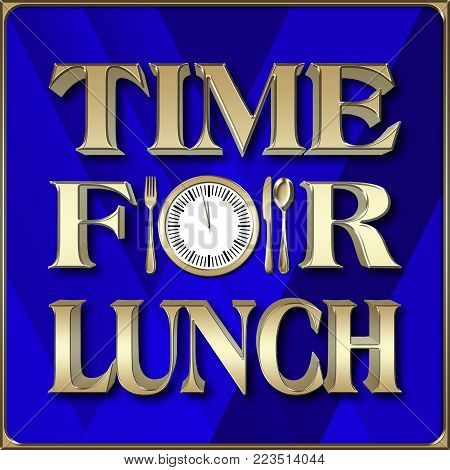 Stock Illustration - Time For Lunch 3D Illustration, Isolated against the Blue Background.