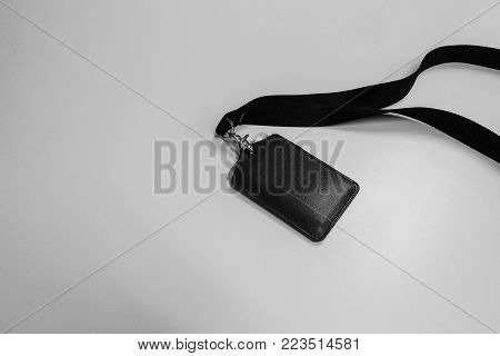 black and white company neck name badge for access and security