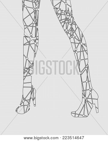 Slim elegant woman legs silhouette textured by lines and dots pattern. Legs design element.