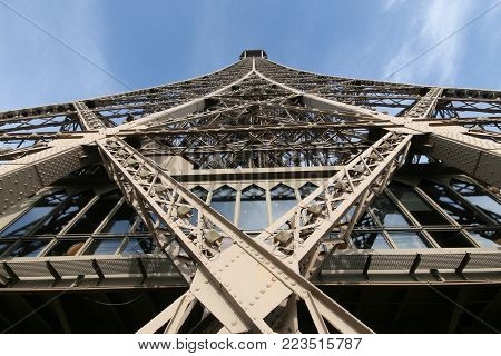 Bottom view of the Eiffel Tower. Blue sky