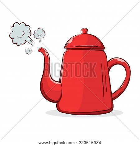 Vector stock of red boiling hot water kettle with steam coming out