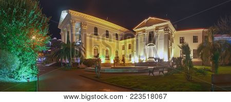 SOCHI, RUSSIA - JANUARY 11, 2018: Art Museum at night illumination