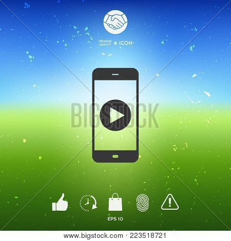 Business Phone with  play button  icon. Element for your design
