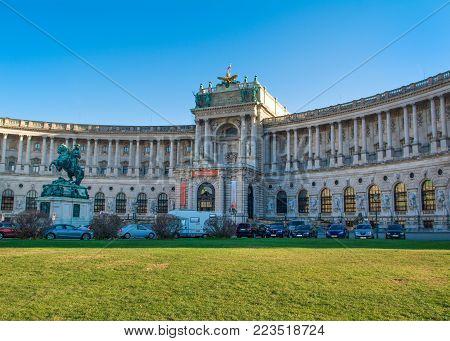 Vienna, Austria - 25 December 2017: Winter landscape of the Neue Burg palace in Vienna, Austria, 25 December 2017