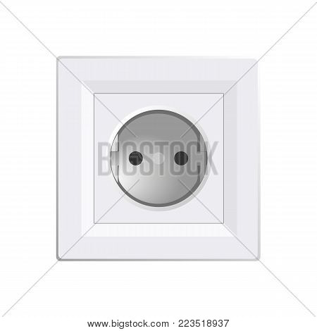 White power socket on wall with shadow, 3d realistic vector illustration, mesh gradient, white background, eps 10
