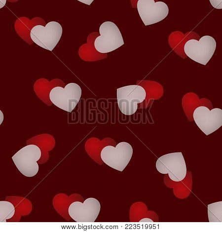 Valentine's Day seamless pattern with pairs of hearts, red and white, vector background