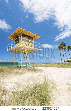 Lifeguard tower at Main Beach on the Gold Coast, Queensland, Australia.