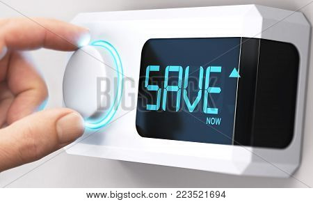 Hand turning a thermostat knob to increase savings by decreasing energy consumption. Composite image between a hand photography and a 3D background.