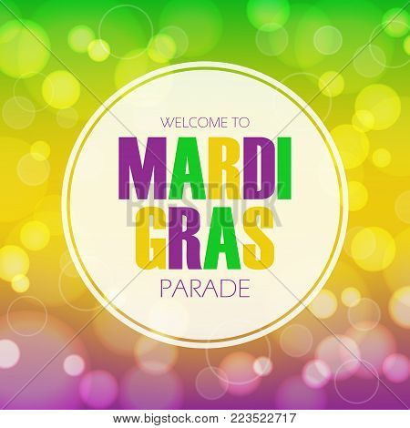 Mardi Gras parade invitation card with bokeh background. Fat Tuesday vector illustration.