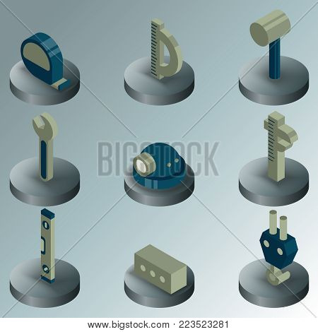 Building color isometric icons. Vector illustration, EPS 10