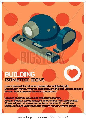 Building color isometric poster. Vector illustration, EPS 10