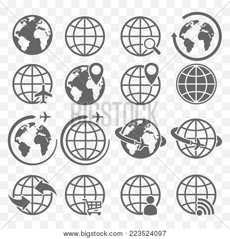 earth icons, planet earth icon set, the earth symbols