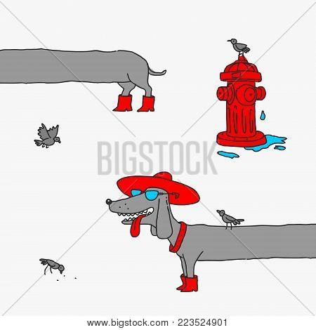 Vector Illustration The Cartoon Girl Dog Dachshund Caricature